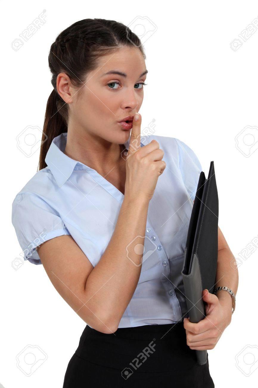 Businesswoman holding secret folder Stock Photo - 15915445