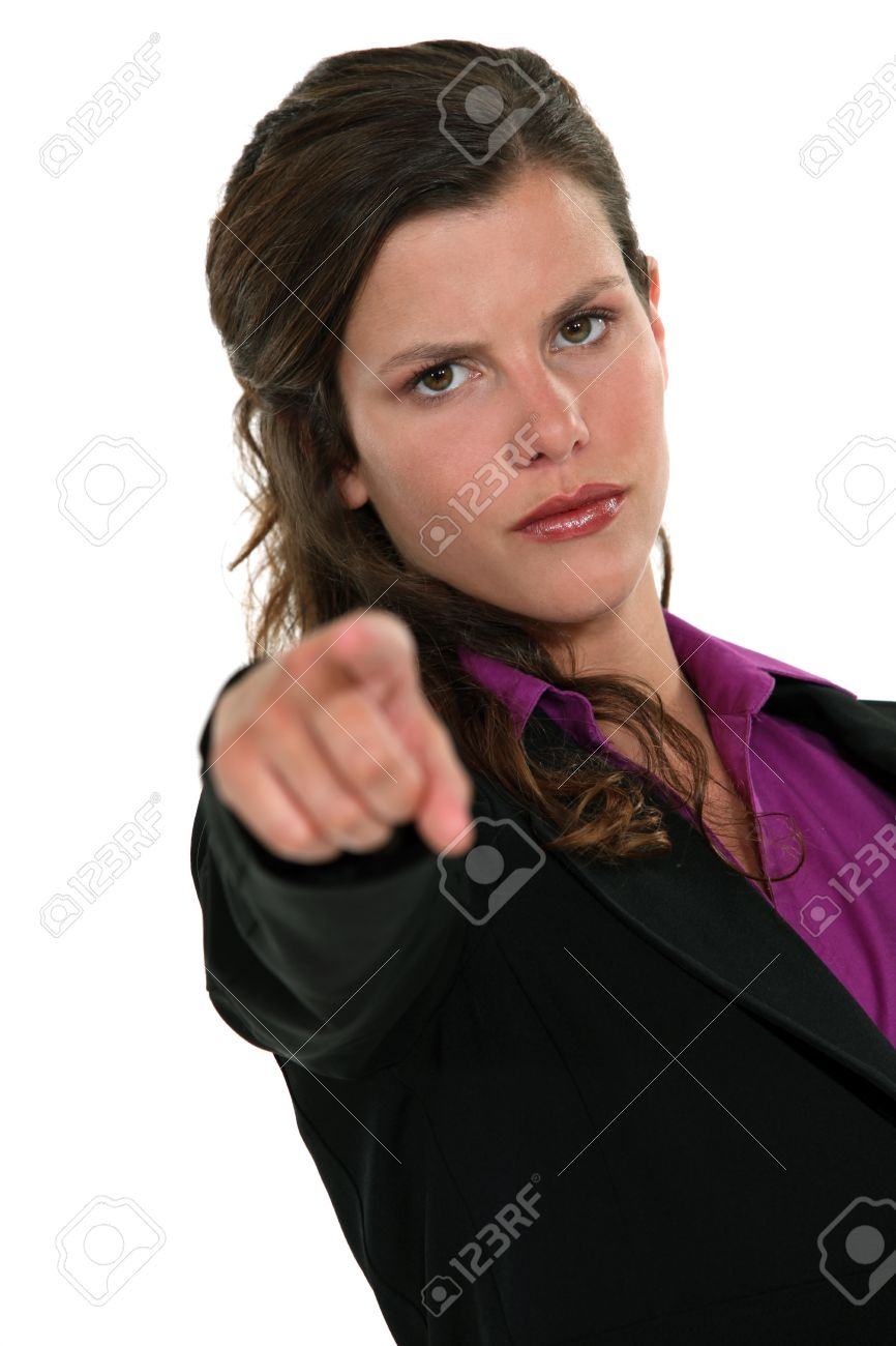Businesswoman accusing someone Stock Photo - 15915842