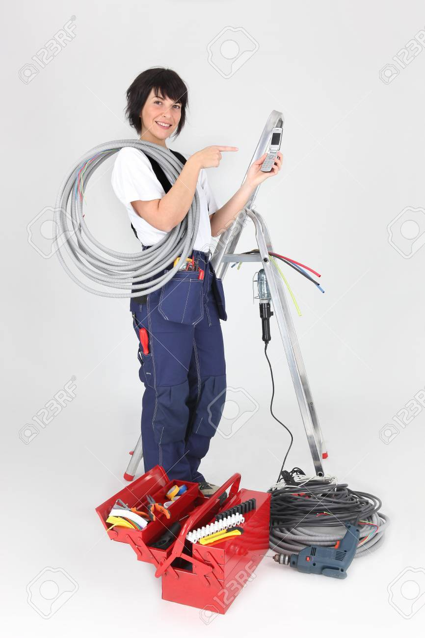 Woman electrician on white background Stock Photo - 16037610