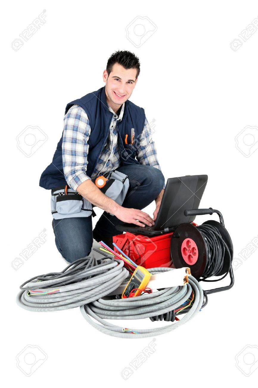 Electrician with a laptop Stock Photo - 16037638