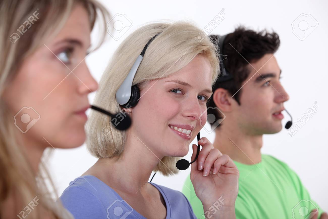 people working in a  call center Stock Photo - 16190362