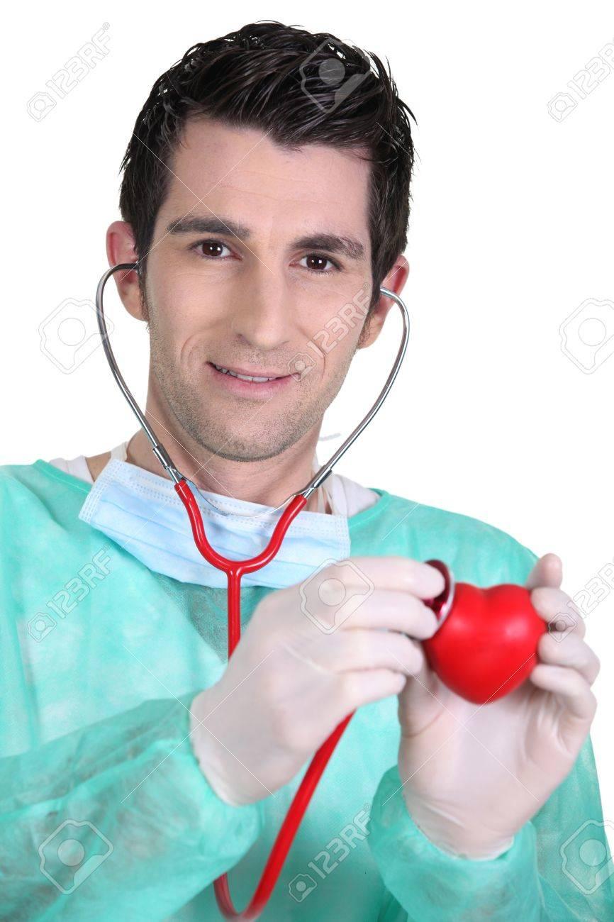 médico auscultando el corazón plástico Foto de archivo - 16166593