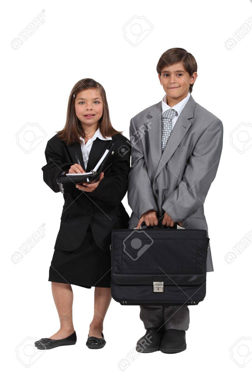 children wearing too large business clothes Stock Photo - 16190430