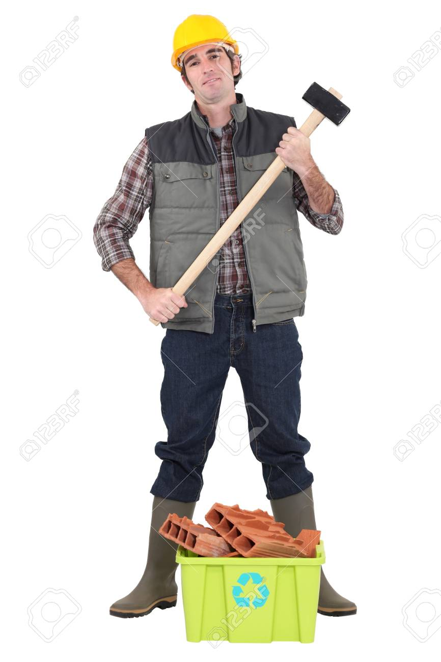 Worker stood with box of recyclable debris Stock Photo - 16190793