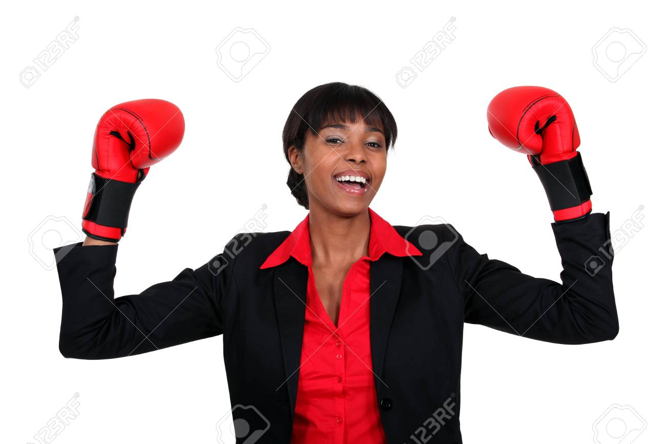 black lady with boxing gloves Stock Photo - 16190444