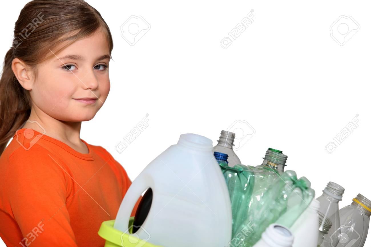 little girl waste sorting - 16411506