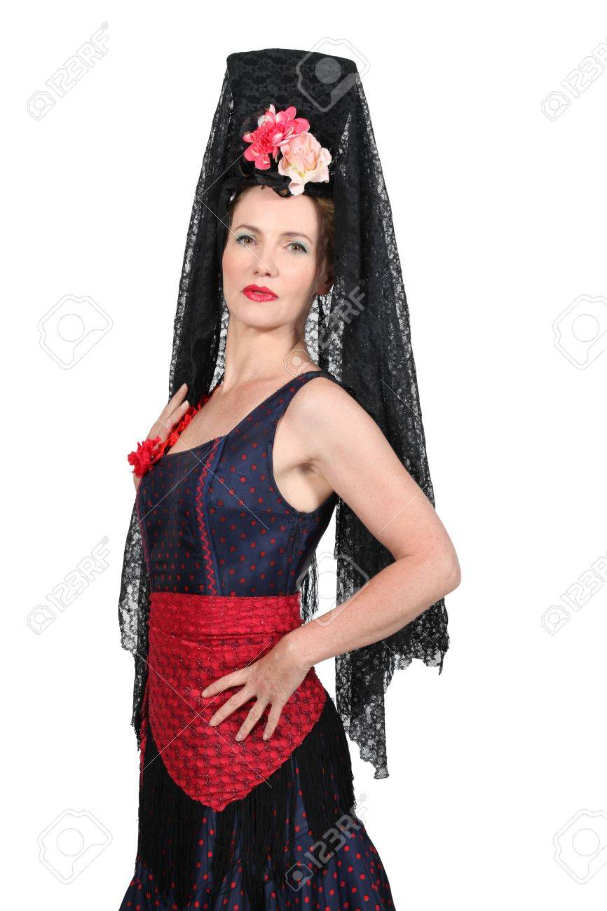 Banque d\u0027images , Femme dans un costume traditionnel espagnol avec haute  coiffure