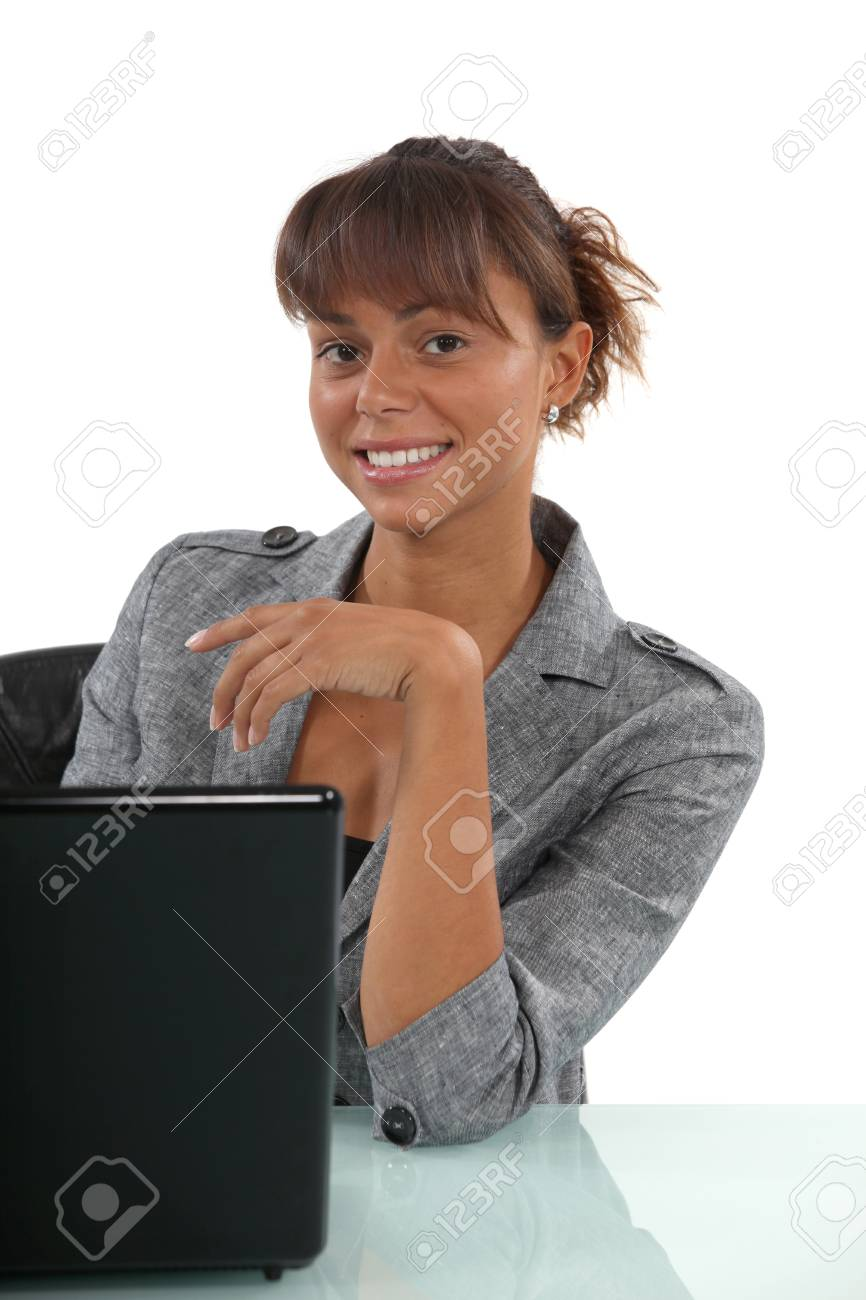 Businesswoman with a laptop Stock Photo - 16669871