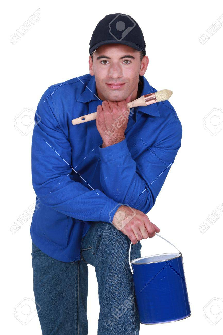 Painter with paint bucket and brush Stock Photo - 16669821