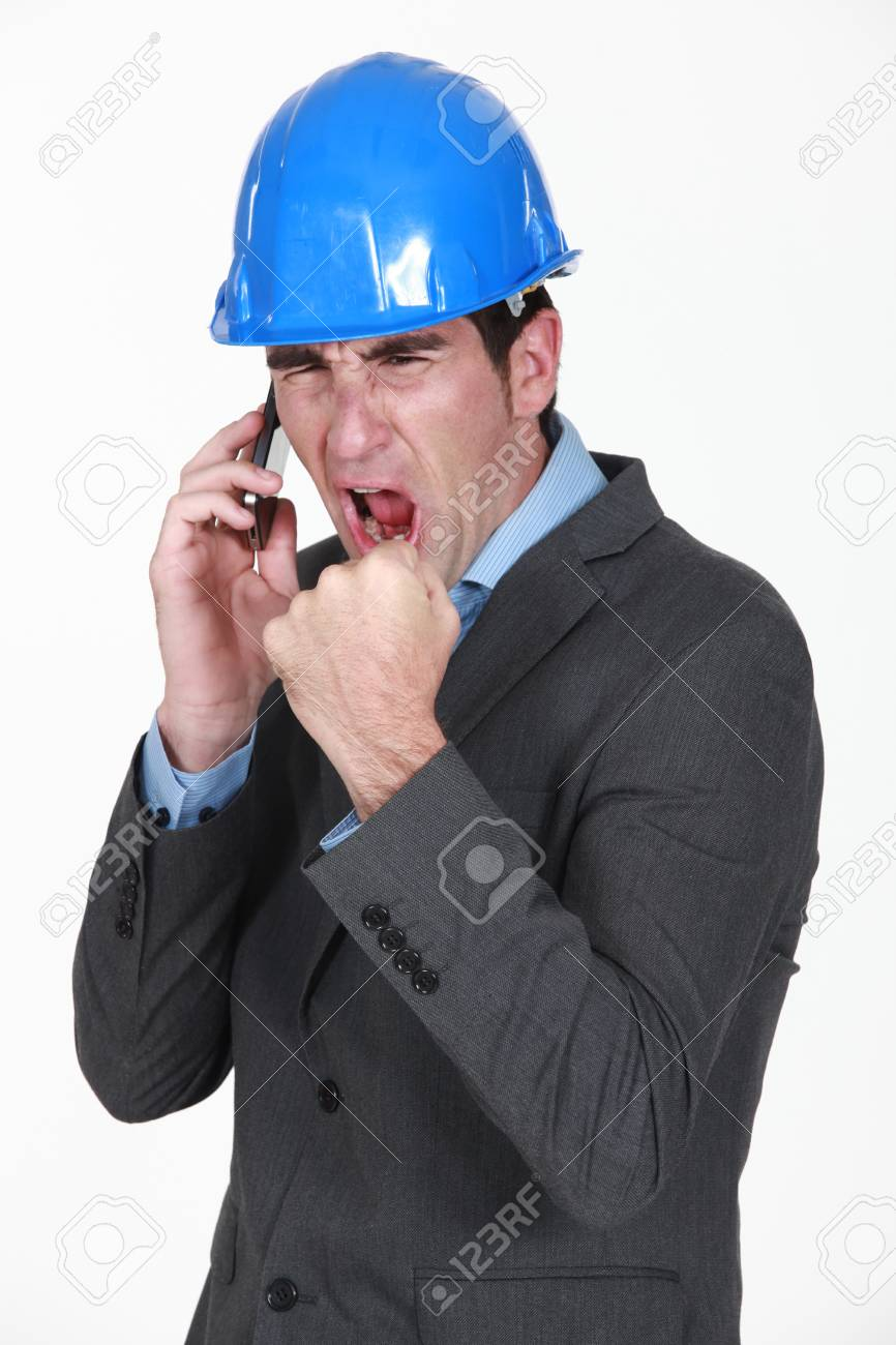 angry real estate businessman shouting on his cell phone Stock Photo - 16732114
