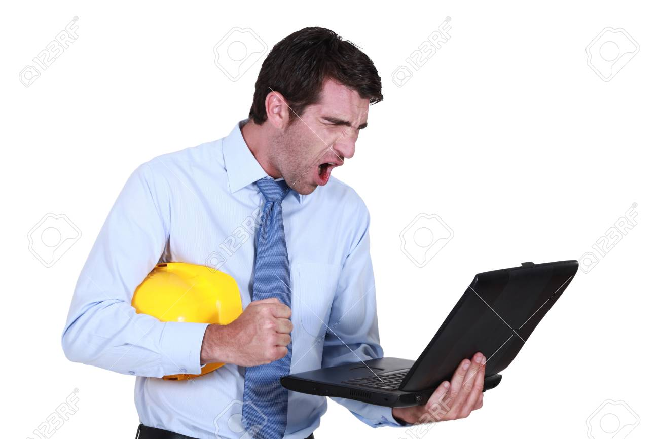 Architect shouting at laptop Stock Photo - 16730562