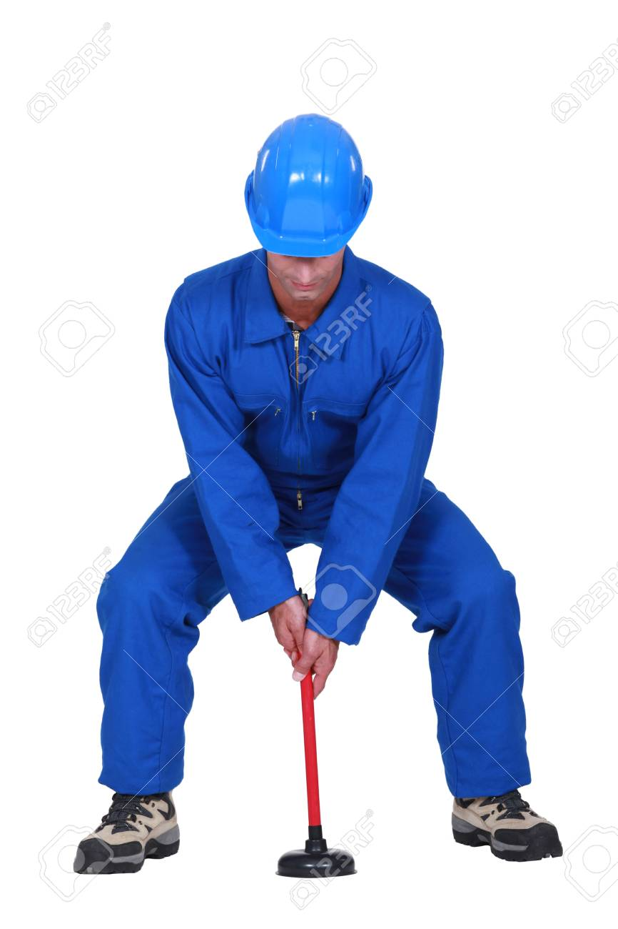 Landscape picture of plumber with plunger Stock Photo - 16779148