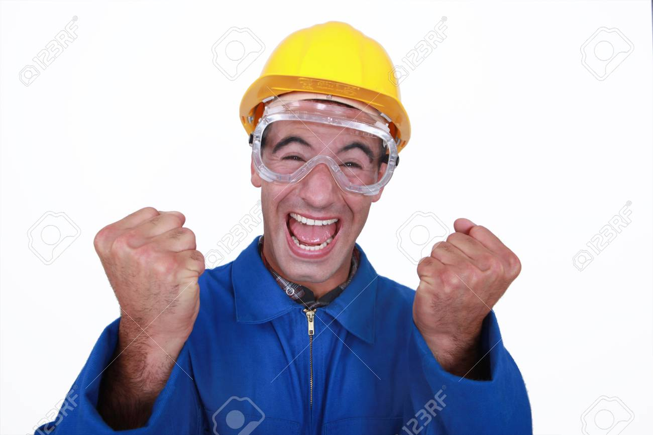 An ecstatic construction worker. Stock Photo - 16779302