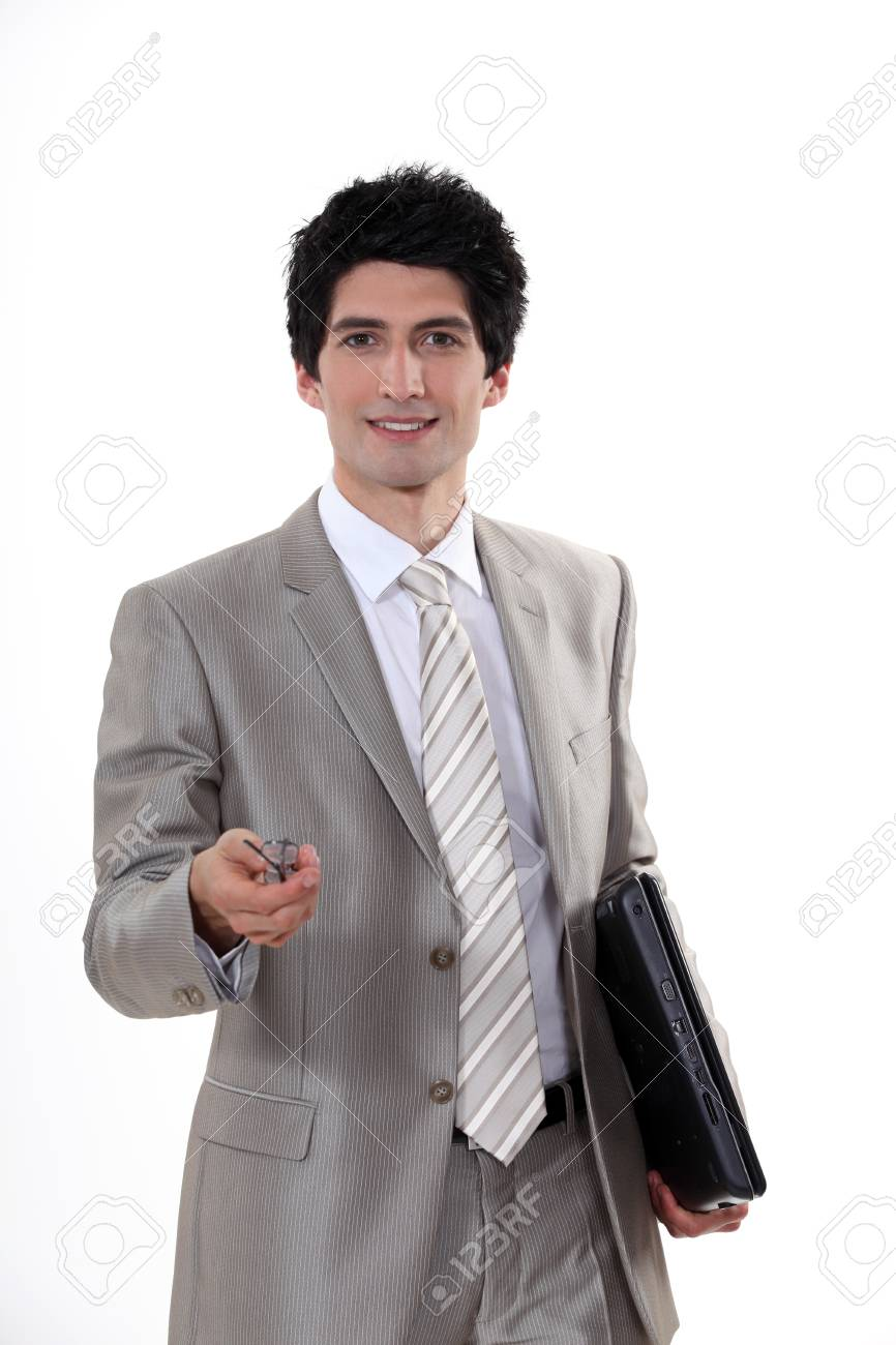 Man with glasses and folder Stock Photo - 16808416