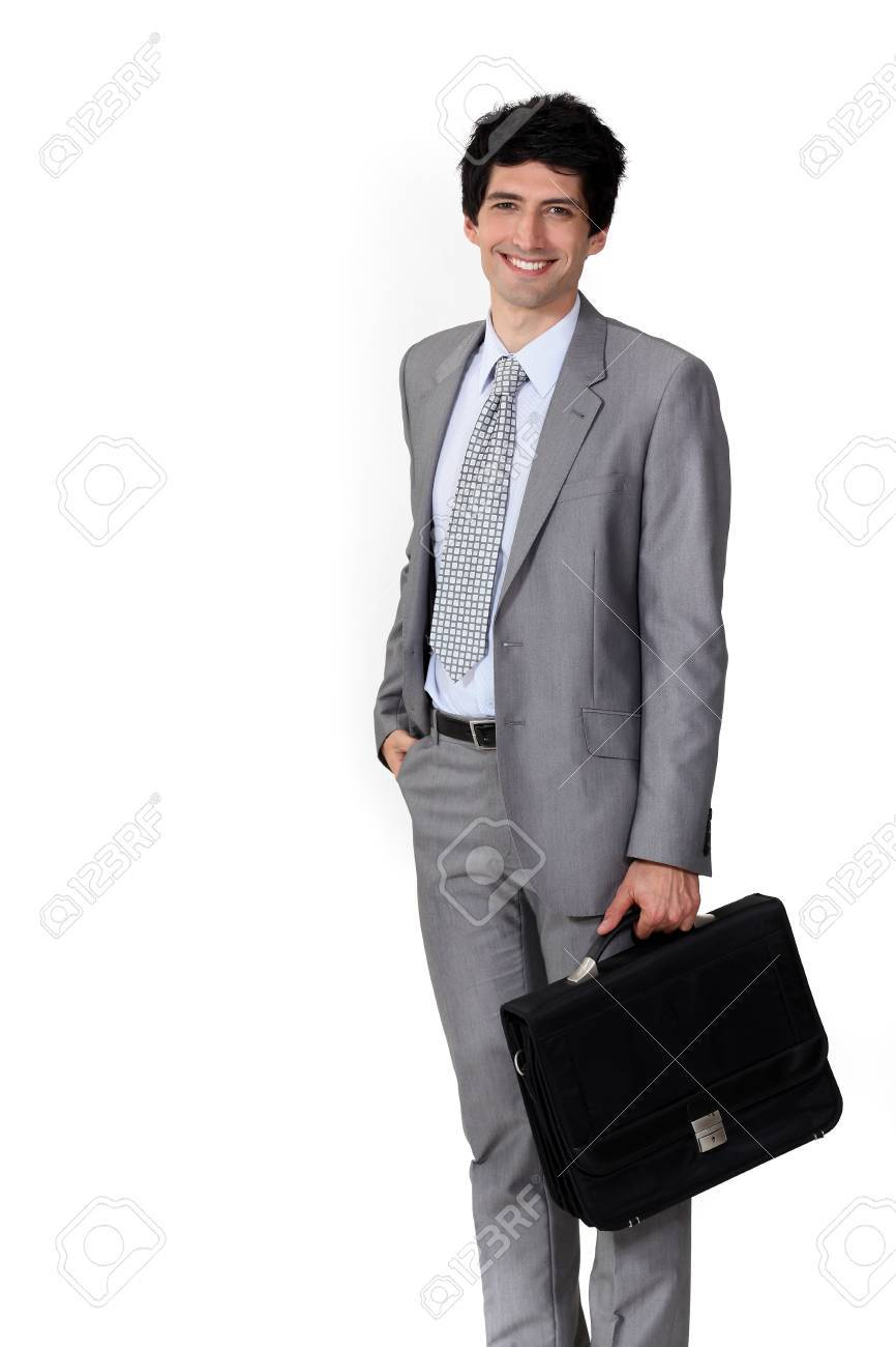 A happy businessman with a briefcase Stock Photo - 16808015