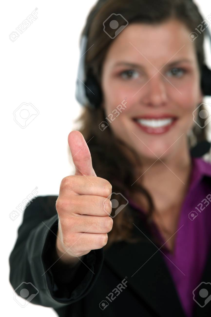 Call centre agent giving the thumb Stock Photo - 16807224