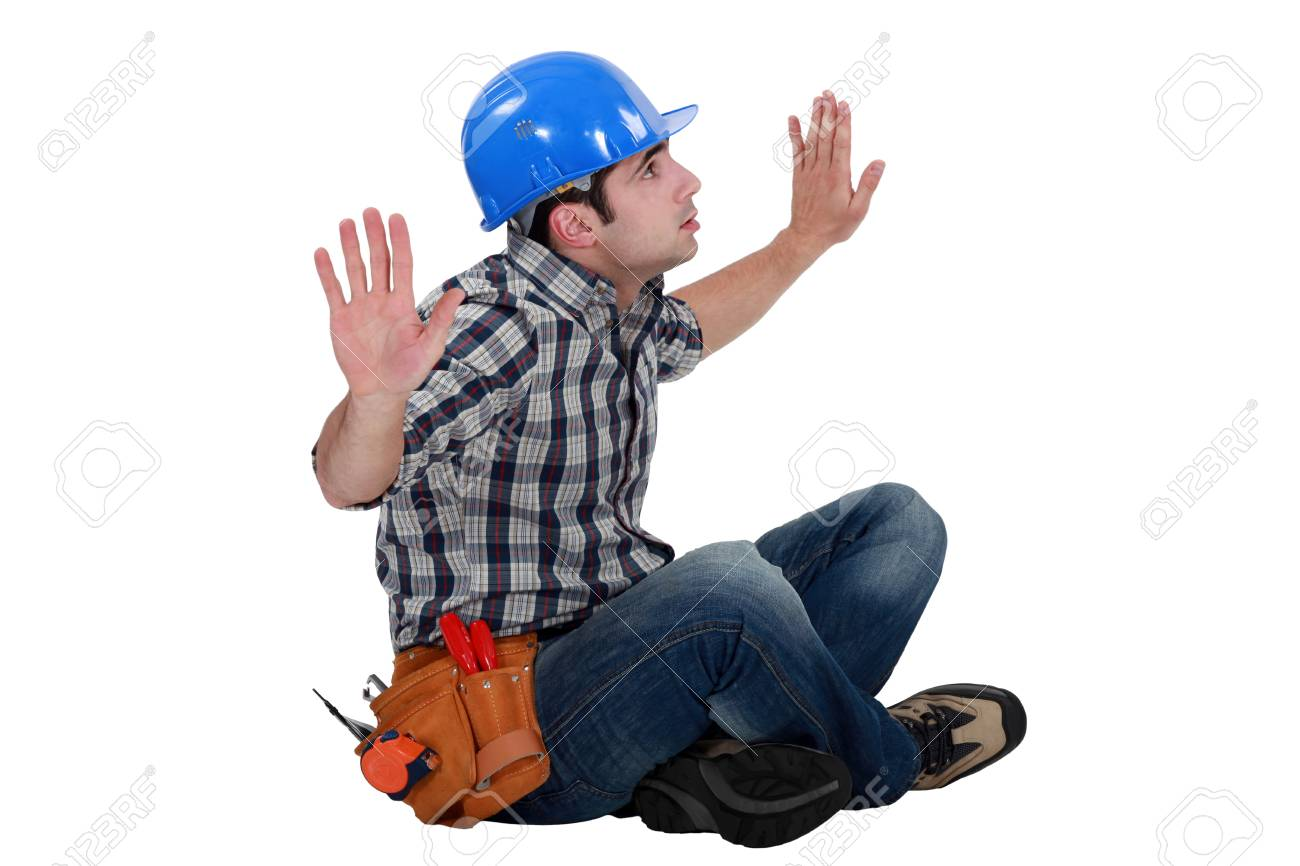 Trapped construction worker Stock Photo - 16842104