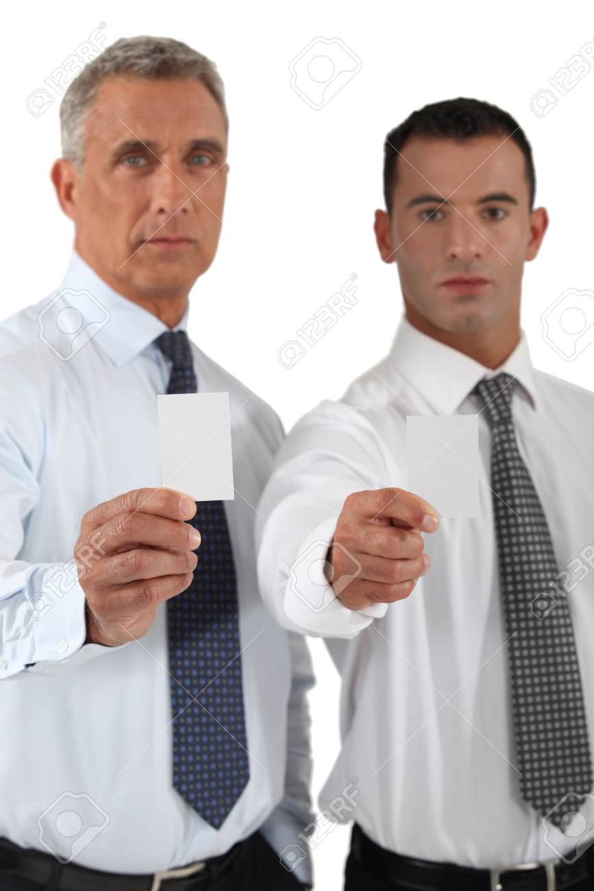 Businessmen showing blank business cards Stock Photo - 16842050