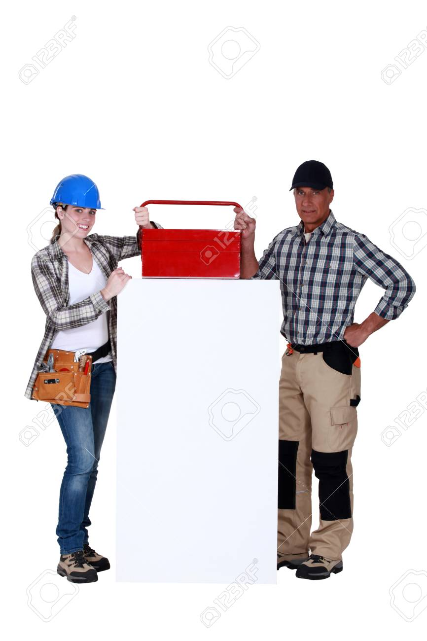 Workers with a toolbox and blank board Stock Photo - 16890203