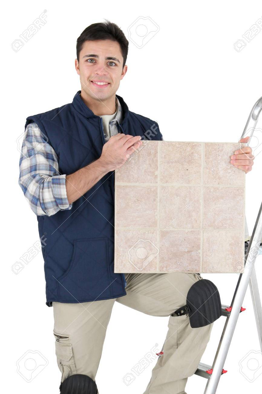 Tiler and materials Stock Photo - 16950138