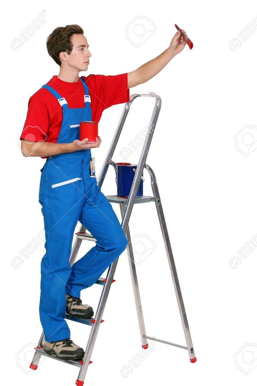 Painter on a ladder Stock Photo - 16951485