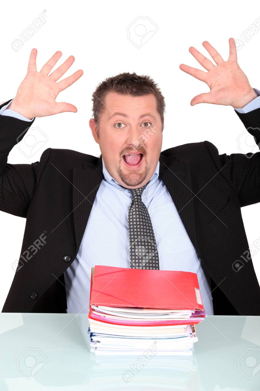 Exceeded man  with hands up Stock Photo - 17220366