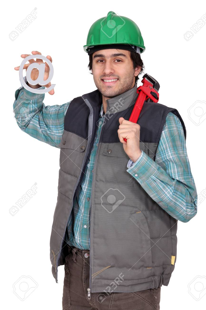 Craftsman with email symbol Stock Photo - 17304462
