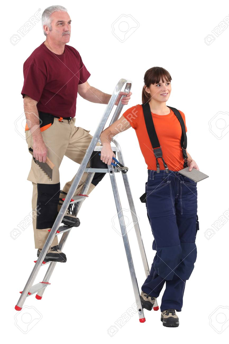 Tiler and female helper Stock Photo - 17386535