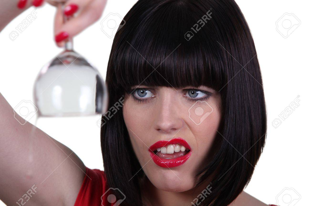 Woman holding empty wine glass Stock Photo - 18099854