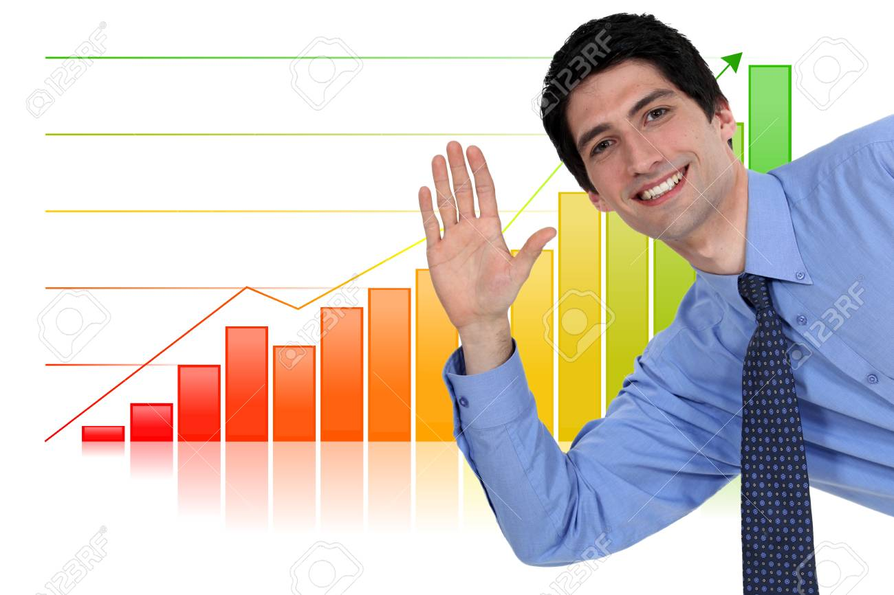 Businessman waving in front of bar chart Stock Photo - 18294375