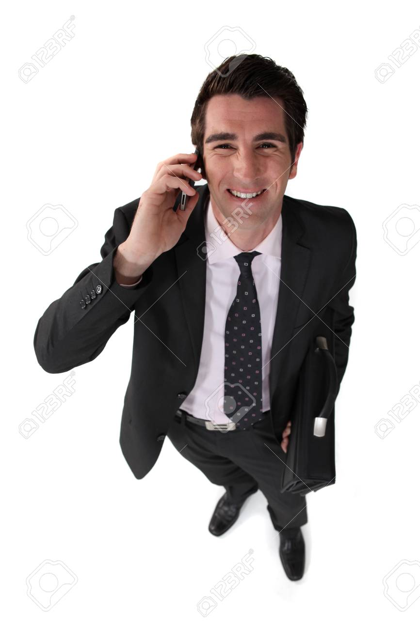 hilarious businessman on the phone Stock Photo - 19693271