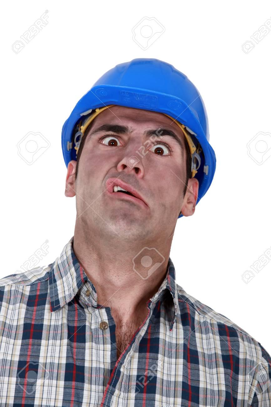 Portrait of grimacing worker Stock Photo - 19855720