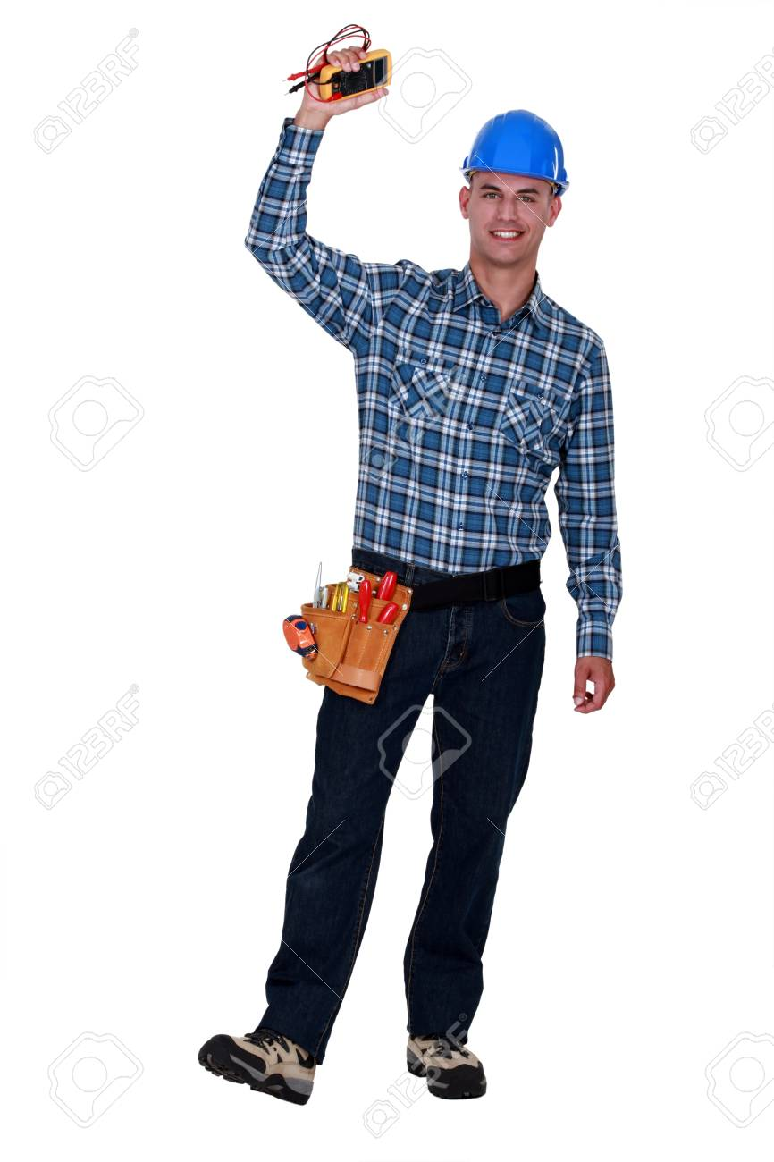 Happy electrician with multimeter in hand Stock Photo - 19791246
