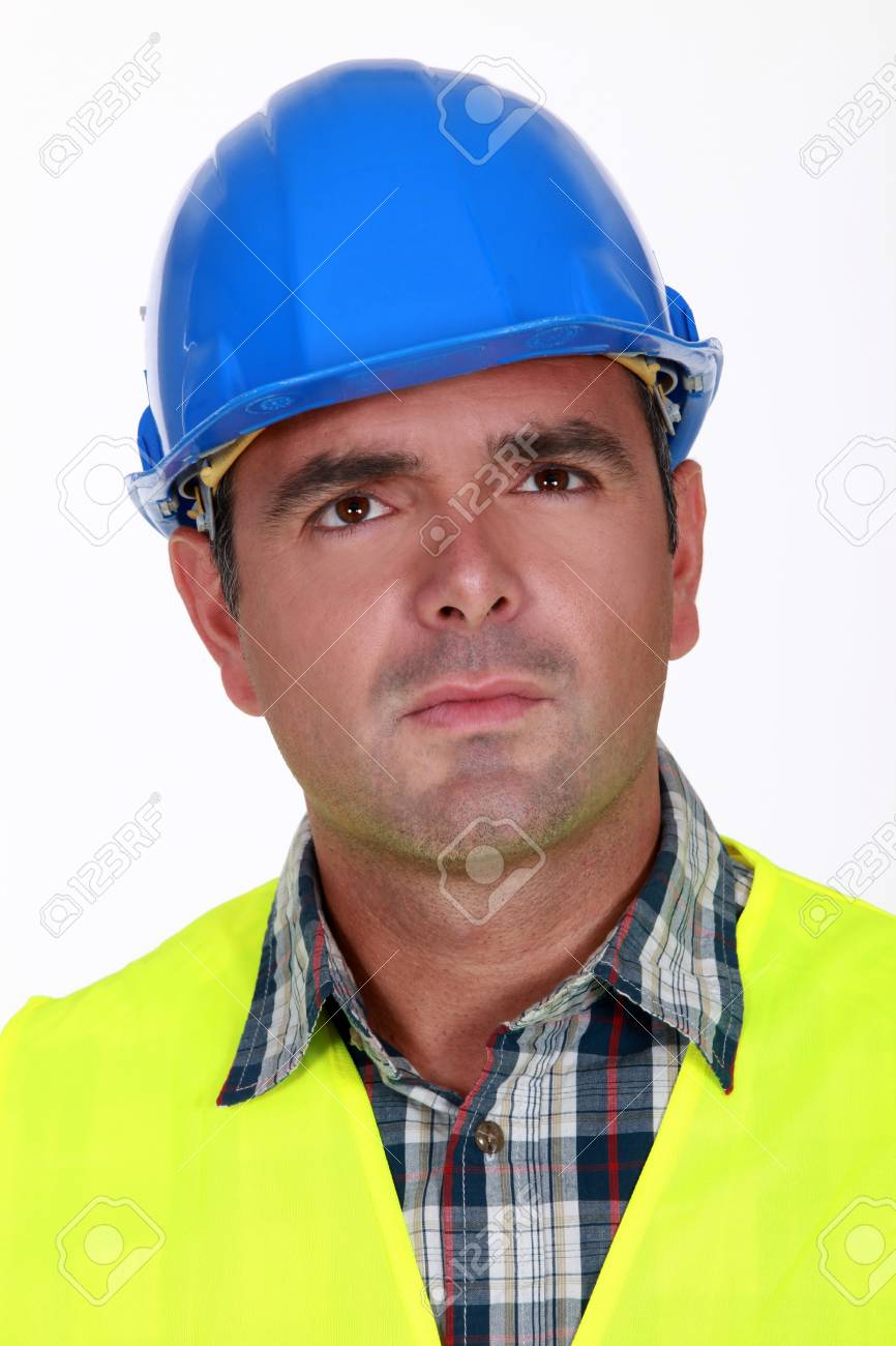 Unhappy Construction Worker Puzzled Construction Worker