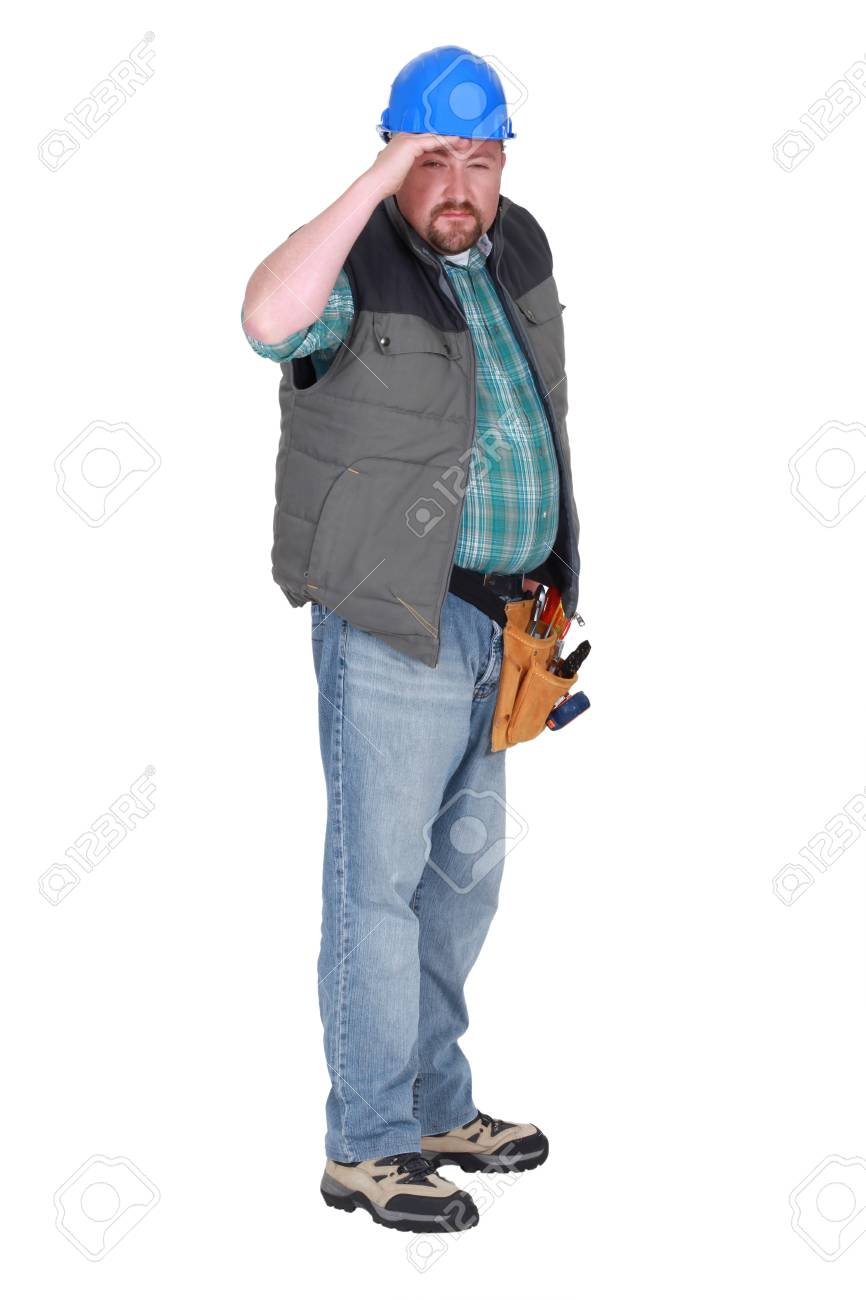 Construction worker squinting into the distance Stock Photo - 20018539