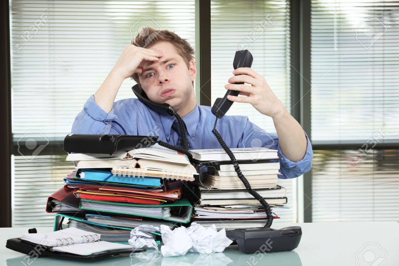 Office worker overworked Stock Photo - 45586237