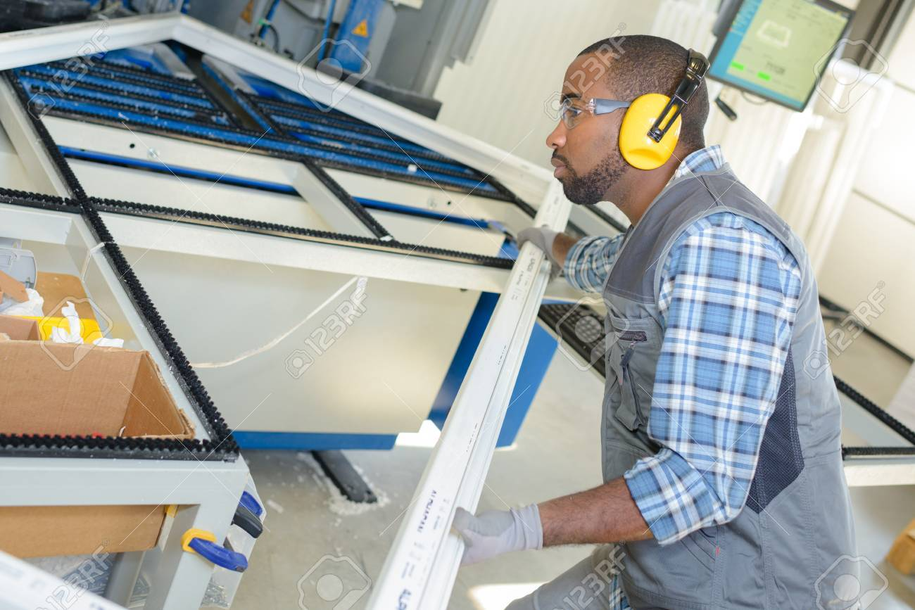 Man Making Upvc Window Frames Stock Photo, Picture And Royalty Free ...