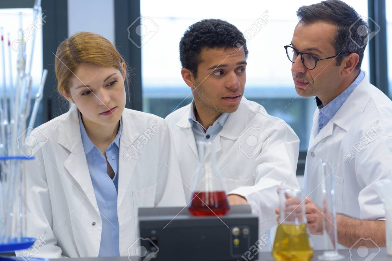 engineering students working in the lab - 125334928