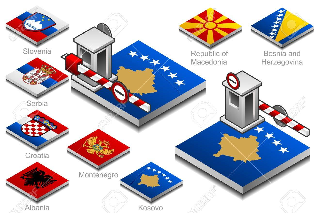 closed customs on the button flag of balkan countries Stock Vector - 10467224
