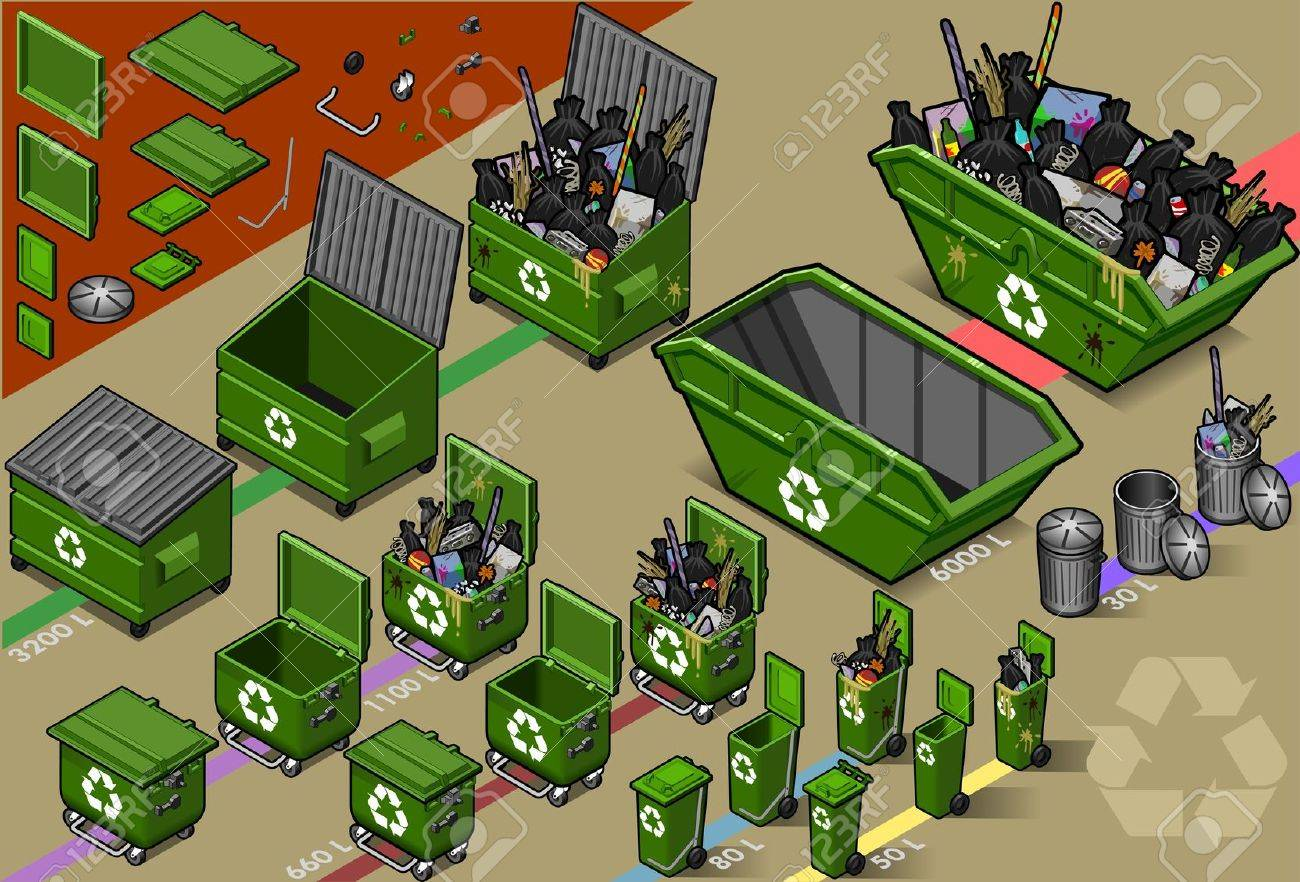 isometric set of garbage container Stock Vector - 10963121