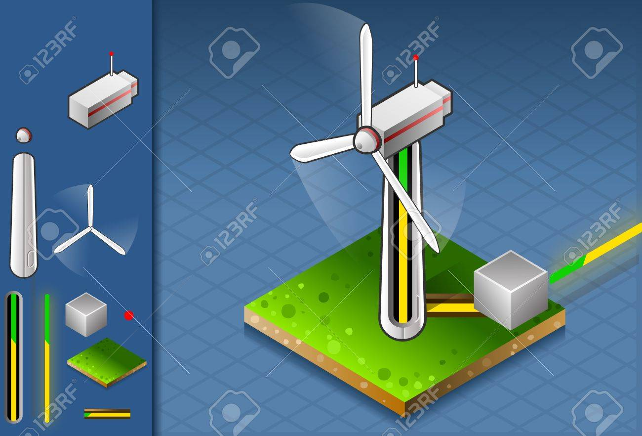 isometric production and transport of energy through wind turbine. Stock Vector - 12204140
