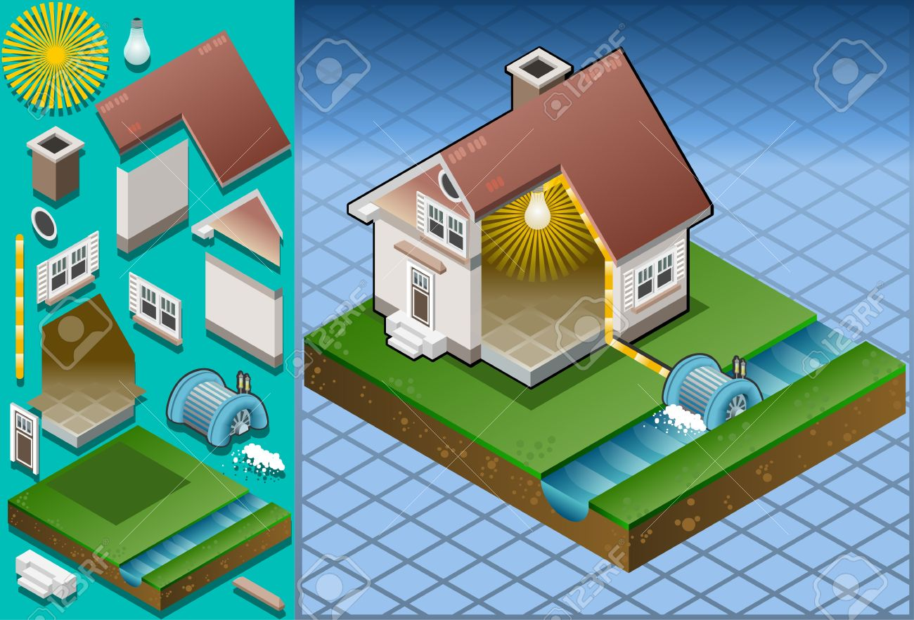 Isometric house powered by watermill Stock Vector - 13836973