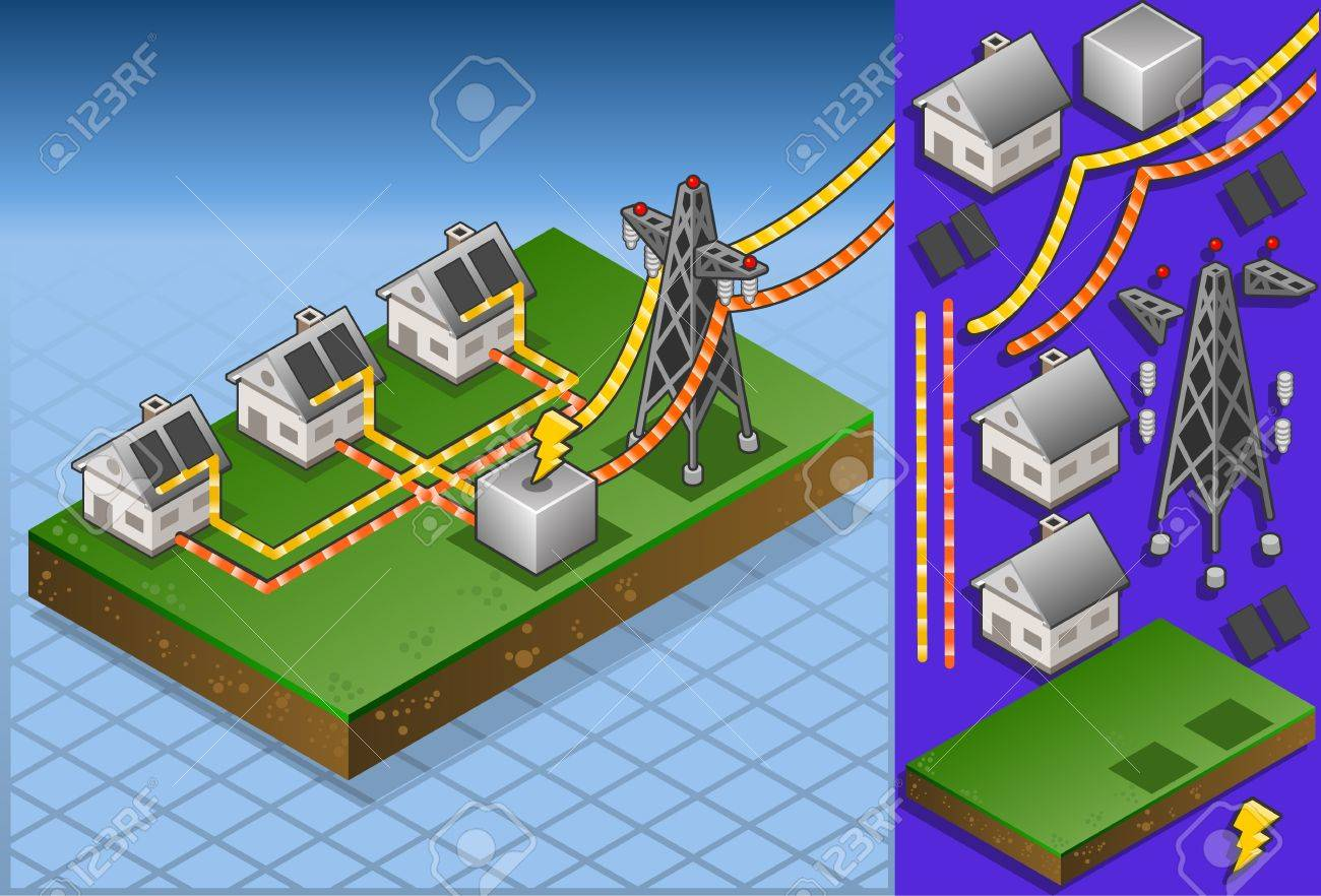 Isometric houses with solar panels in production of energy Stock Vector - 13841041