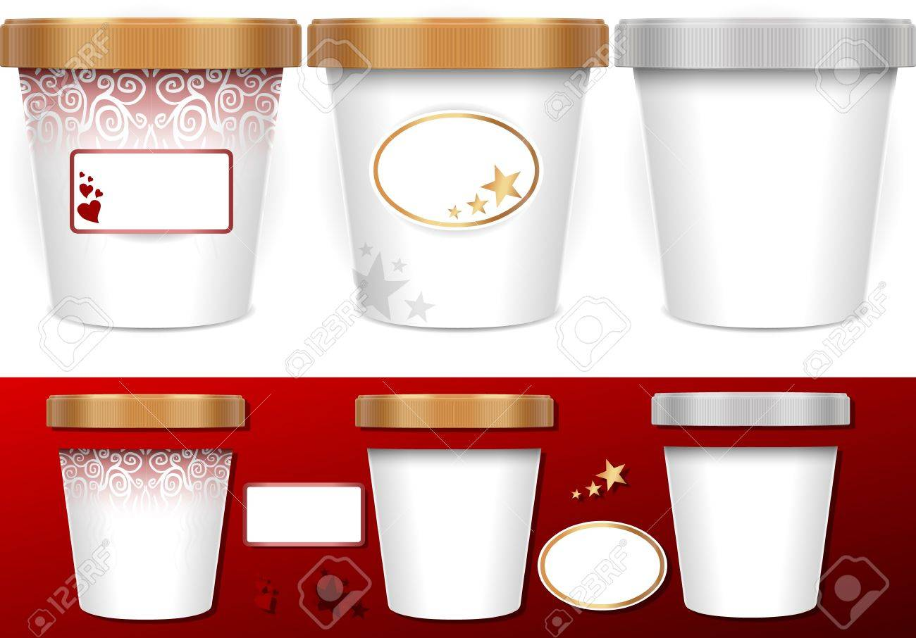 Three generic cup for ice cream with labels Stock Vector - 14508601