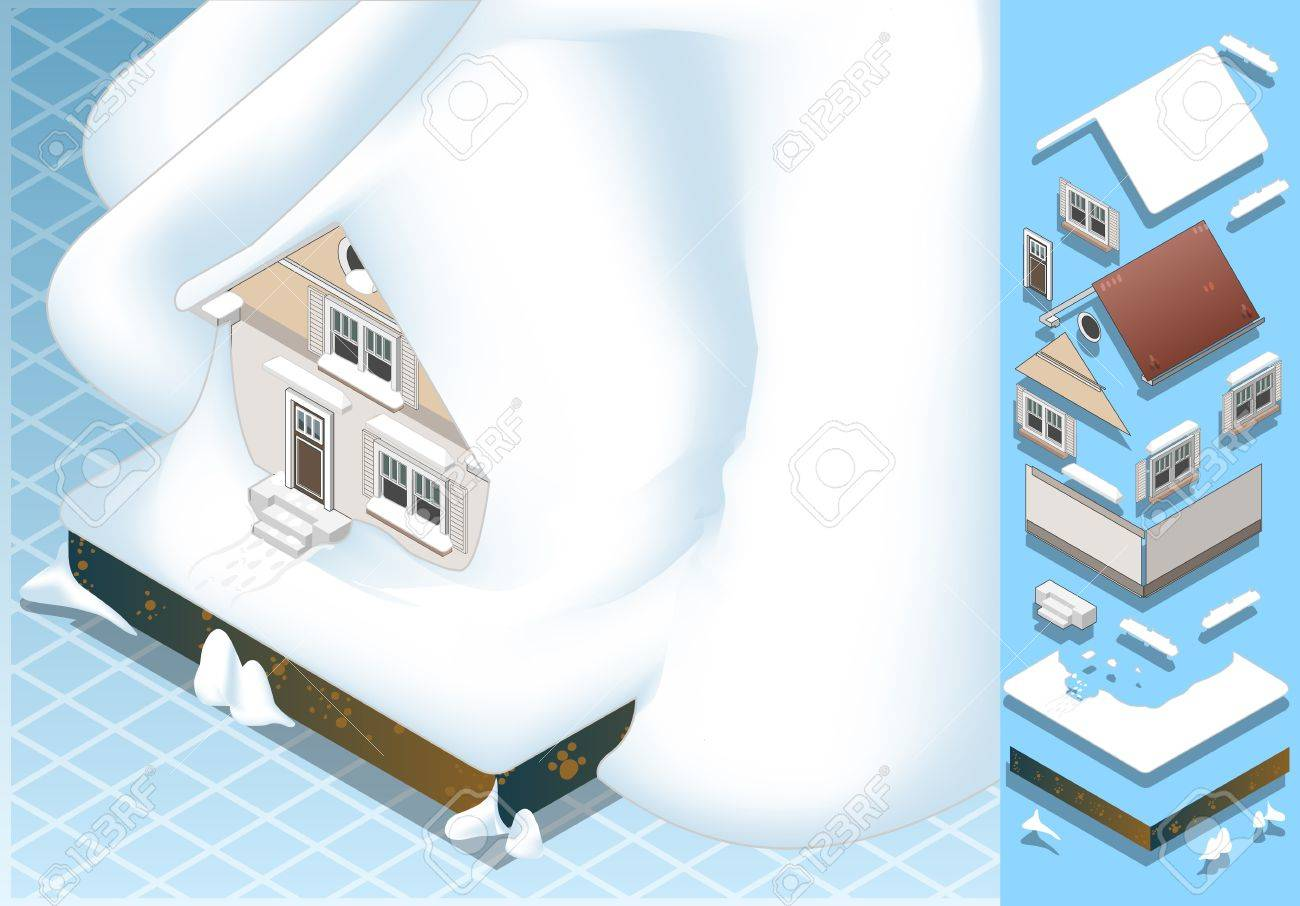 Detailed illustration of a isometric house hit by landslide of Snow Stock Vector - 15571694