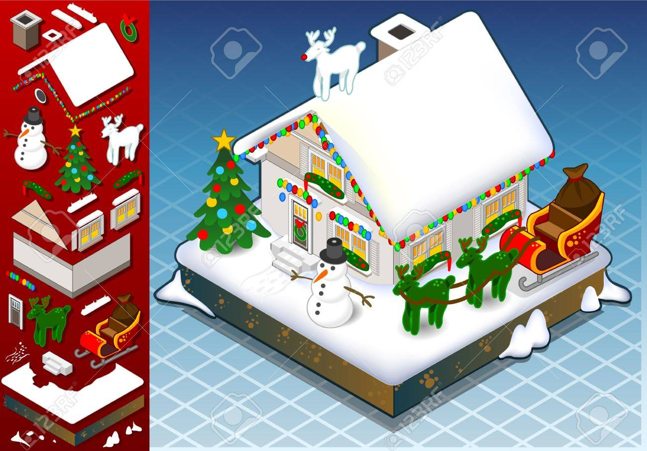Detailed illustration of a isometri christmas Snow Capped House with decoration set Stock Vector - 15906813