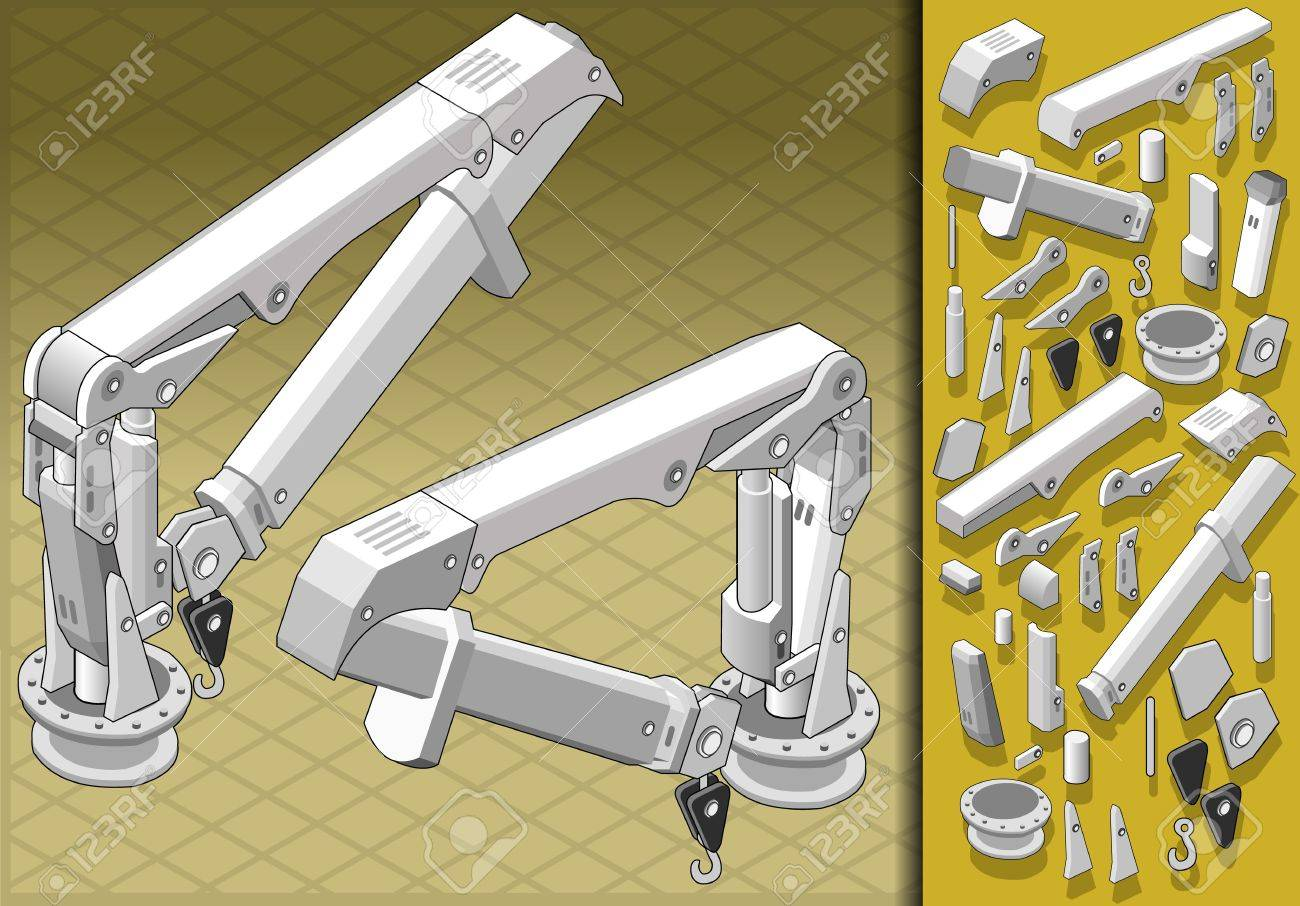 Detailed illustration of a isometric mechanical arm in two positions Stock Vector - 16059978
