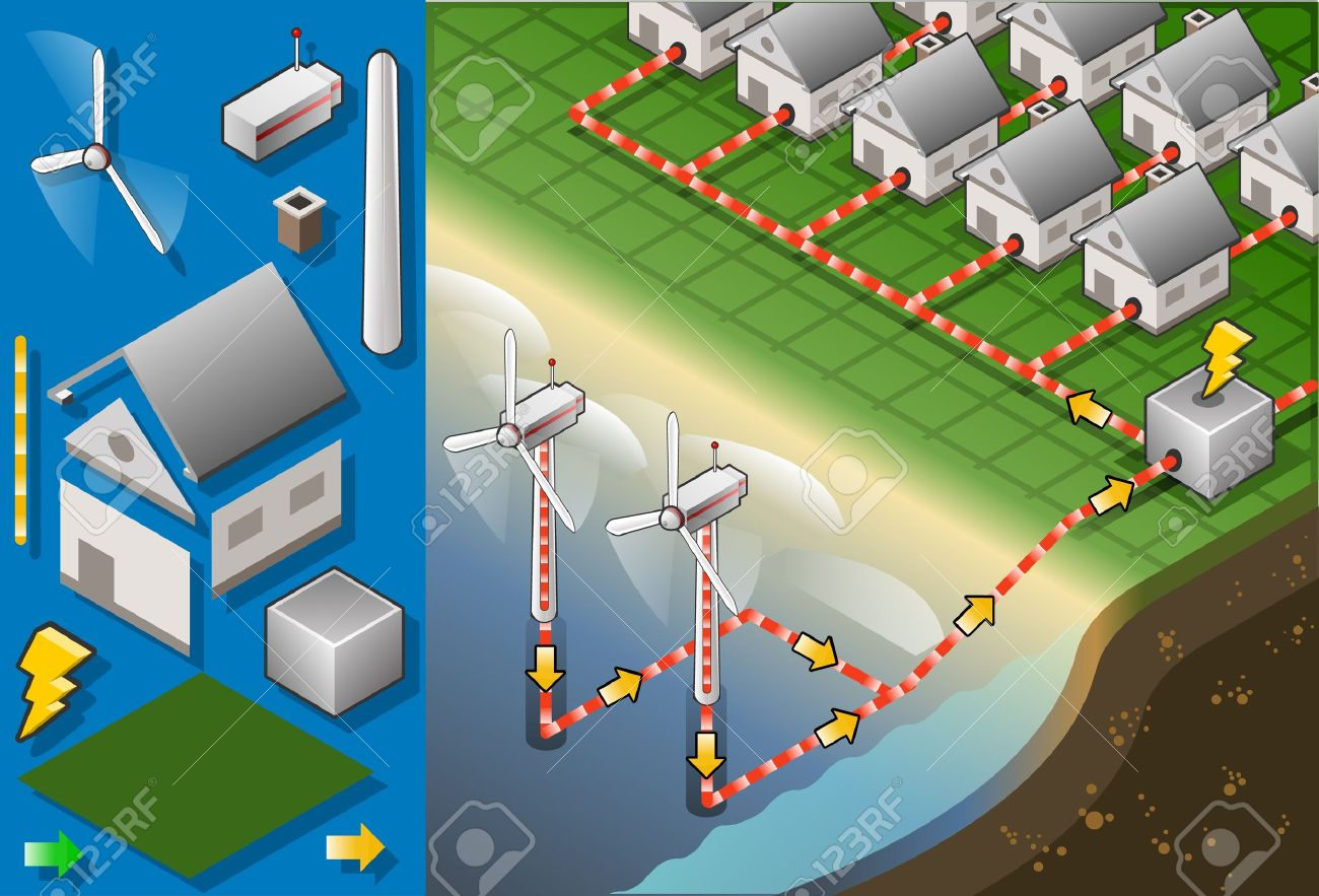Detailed illustration of a Isometric houses with offshore wind turbines in production of energy Stock Vector - 16461480