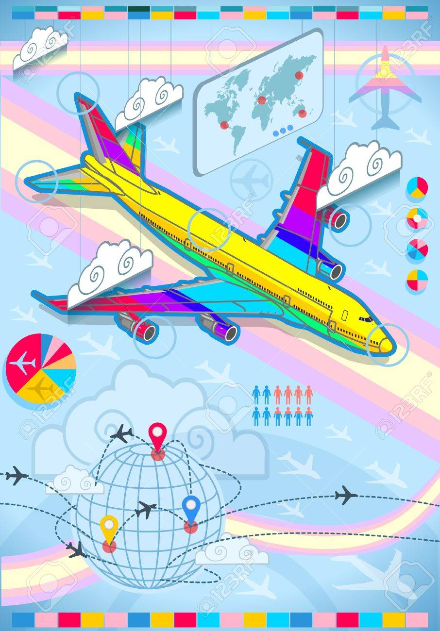 Detailed illustration of a infographic set elements with airplane in rainbow Stock Vector - 16461462