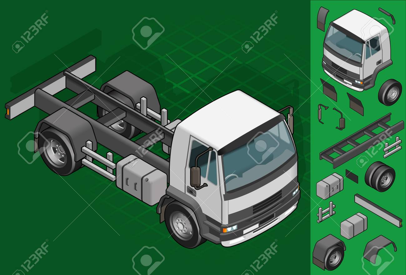 isometric truck solo driving in front view Stock Vector - 18389054